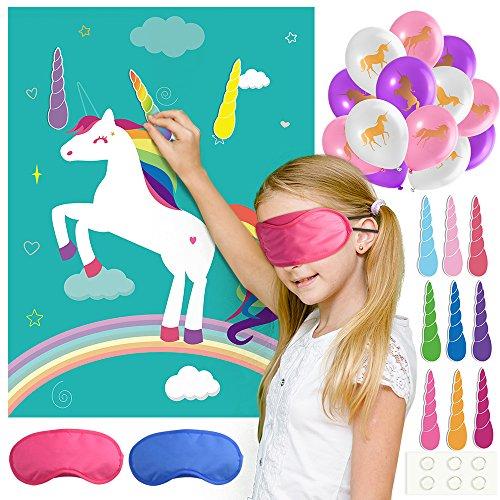 FEPITO Pin el Cuerno en el Juego Fiesta cumpleaños Unicornio con 24 Cuernos y 15PCS Globos Unicornio para Las Fuentes Partido Unicornio, Decoraciones Fiesta cumpleaños los niños