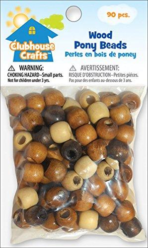 Advantus Clubhouse Crafts Wood Pony Beads 90 Pkg-