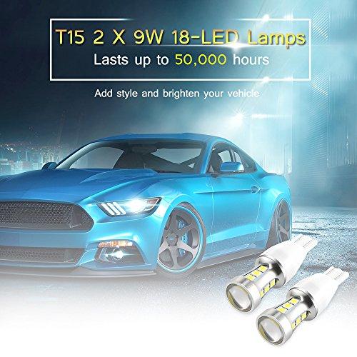TiooDre 2pcs T15 W16W LED Bulb,912 921 W16W Car Light 3030 Extremely Bright 12V 24V Non Polarity for Car Parking Light Backup Tail Reverse Lights White [Energy Class A+++]