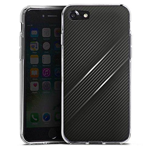 Apple iPhone X Silikon Hülle Case Schutzhülle Carbon Schwarz Look Muster Silikon Case transparent