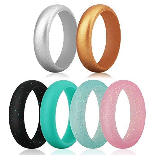 Funria Silikon Ehering für Frauen, Silikon Gummibänder Ring 6 Farben mit Metall Silber und Metall Gold, Schwarz Rosa Teal mit Glitter, Türkis Fit für Sport und Outdoor (6.5-7(17.3mm)) -