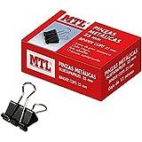 MTL 79161 - Pack de 12 pinzas metal, 25 mm, color negro