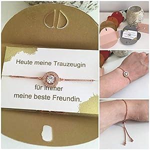 Trauzeugin Brautjungfer Geschenk fragen Hochzeit Brautschmuck Armband Ondego Gold Silber Rot Mintgrün Blau Rosa