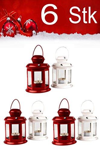 Schattierungen Von Licht Kerze (Weihnachtslaterne 6er SET Windlicht Laterne 13cm hoch für Weihnachten | kleine Laternen für draußen aus Metall und Glas | Windlichter als Weihnachtsdeko Beleuchtung oder Dekoration für Kerzen)