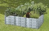 JUWEL System Gr. 2 Hochbeet Größe 2 Profiline (wärmeisolierende, unverrottbare Universal Bausteine,190 x 121 x 52 cm) Basalt-grau