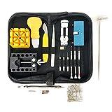 Kit d'outils de réparation pour montre Outil Professionnel de barre à ressort Lot de, bracelet de montre Lien broches Outil Ensemble avec housse de transport
