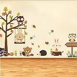 wassaw Wald Eule Schmetterling Schaukel Kaninchen Eichhörnchen Wandaufkleber Tier Baum Für Kinderzimmer Kinder Baby Kinderzimmer Wohnkultur