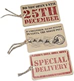 12 Assorted Christmas Xmas Gift Tags (4 Do Not opened until 25th December - 4 If undelivered, Please Return to Santa, The North Pole - 4 Special Delivery) Luggage Label Style