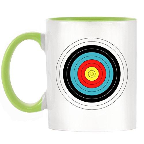 Bogenschießen Ziel Design bicolor Tasse Becher mit Licht grün Griff & Innen