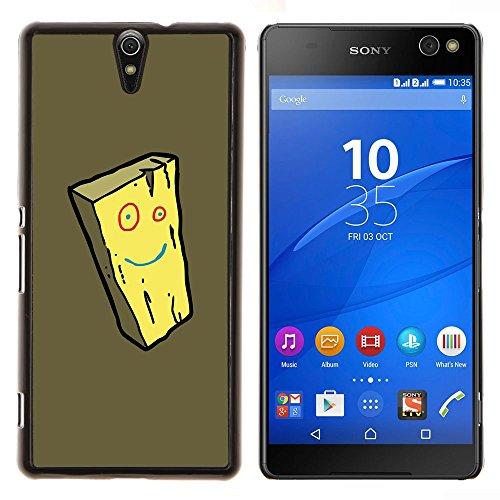 YiPhone /// Premium Slim Snap caso della copertura posteriore Armatura Shell - Formaggio Smiley giallo del fronte della spugna del fumetto - Sony Xperia C5 Ultra