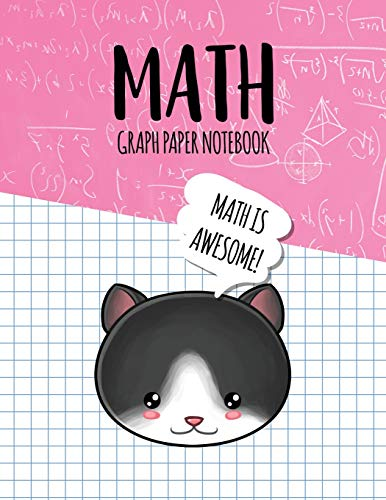 Math Graph Paper Notebook: Blank Graph Note Book Pages - Tuxedo Cat Pink Equations (4x4 Graph Composition Notebook for Kids, Band 336) - Tuxedo Pink