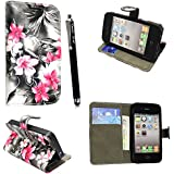 FOR APPLE IPHONE 4 4S VARIOUS PU LEATHER MAGNETIC FLIP CASE COVER POUCH + FREE STYLUS (Pink Flower Dark Grey Book Flip)