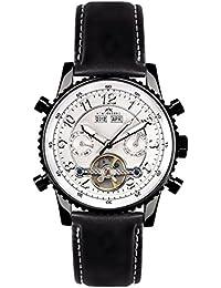 Hindenberg Reloj automático Man Hindenberg 230-H Air Pvd Silver Leder Cuero / Negro / Plata 42 mm
