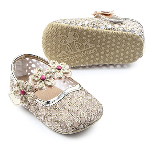 Fire Frog  Baby Mary Jane Shoes, Baby Mädchen Lauflernschuhe Gold
