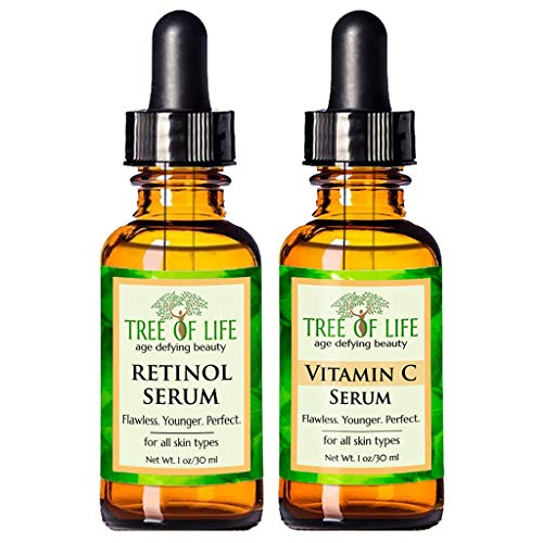 Anti Aging Serum Two-Pack - 72% ORGANIC - Vitamin C Serum - Retinol Serum - SATISFACTION GUARANTEED