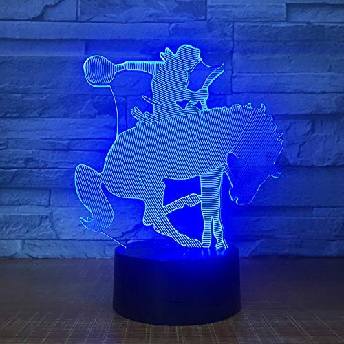 2Er Pack, Ein Pferdetrainer Dressur Modell -Optical Illusion Lampe-Led Farbe Lampe-3D Lampe Nachtlicht - Acryl Atmosphäre Lampe-7 Farbe Moderne Lampe Kind Dekoration, Weihnachtsgeschenk -