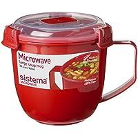 Sistema 1141 Large Microwave Cookware Soup Mug, 30.4 oz, Red by Sistema