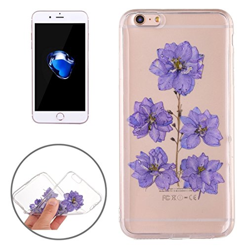 Pour iPhone 7 Epoxy Dripping Pressed Real Dried Flower Soft Transparent TPU Housse de protection JING ( SKU : Ip7g2996f ) Ip7g2996d