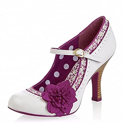 Ruby Shoo Poppy Ivory Purple Floral Mary Jane High Heel Shoes (UK Size 7, Colour Ivory/Floral)