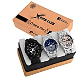 #10: Rich Club Quartz Movement Analogue Display Multicoloured Dial Men's Watch(ARMBLK~27GREY~27SMILY) - Pack of 3
