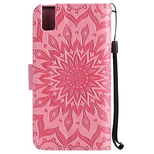 Für Huawei Hornor 7i Fall, Prägen Sonnenblume Magnetic Pattern Premium Soft PU Leder Brieftasche Stand Case Cover mit Lanyard & Halter & Card Slots ( Color : Gray ) Pink