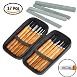 TIMESETL 17Pack Wood Carving Set, 12pcs Wood Carving Tools SK2 Carbon Steel + 4pcs Whetstones + Storage Case for Beginners Kids Adults DIY Woodworking Sculpting Whittling