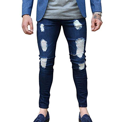 Vaqueros Rotos para Hombre Moda Cintura Media Slim Fit Denim Pantalones con Bolsillos y Cremallera Straight Casual Jeans Pantalones Largo S-3XL