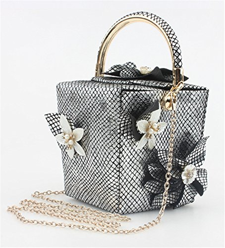 Good Night Borsa a tracolla Donna Fiore Nuovo stile plaid scatola di sera della borsa con maniglia superiore Argento