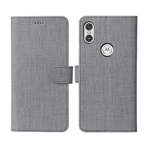 CRESEE Motorola One Hülle, Handyhülle Leder Tasche Flip Case Schutzhülle Bildschirmschutz Magnetische Cover Standfunktion Kartenfächer Stoßfestes Brieftasche Tasche Fall für Motorola One (Grau)