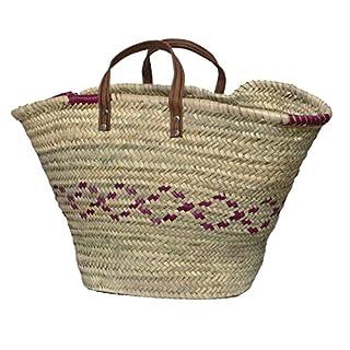 Aubry Gaspard 1050 Straw Basket Leather Handle 65 L