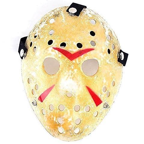 2PCS Gold Vintage Jason Voorhees Freddy Hockey Festival Halloween Masquerade Party Mask