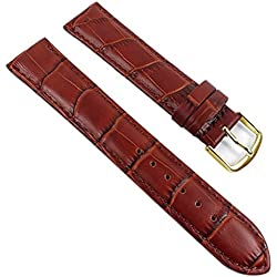 Eulit Guinea Replacement Band Watch Band Leather Kalf Strap brown 8007_25G, Abutting:16 mm