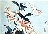 Posterlounge Holzbild 170 x 120 cm: Trompetenlilien von Katsushika Hokusai