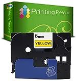 Printing Pleasure TZe-FX611 TZ-FX611 Nero su Giallo Nastro flessibile compatibile per BrotherP-Touch Stampanti per etichette | 6mm x 8m | laminato
