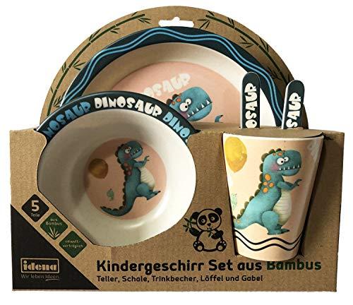Idena 40123 - Kindergeschirr Set aus Bambus, mit lustigem Dino Motiv, 5 teilig bestehend aus Teller, Schale, Trinkbecher, Löffel und Gabel - , Essen, Schüssel-set Kleinkind,