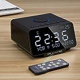 BECEMURU Radiowecker Lautsprecher mit Kablosuz Doppel-USB-Schnellladeanschluss, TF-Kartenspiel, LED-Anzeige, Dual-Alarm, Innentemperatur/Tag/Datumsanzeige, Schlaf-/ Nick-Timer für Schlafzimmer(schwarz)