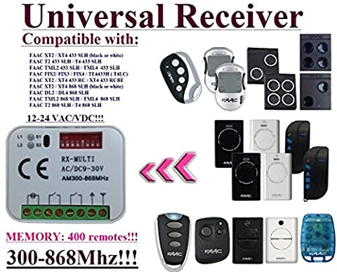 Universelle récepteur Compatibile avec FAAC FIX2 / FIX3 / FIX4 / TE4433H (T4LC) / XT2 433 RC / XT4 433 RC / XT4 433 RCBE 433,92Mhz Télécommande. 2 canaux rolling code 300-868MHz. Rolling / Fixed code 12 - 24 VAC/DC receiver.