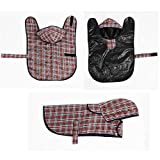 Prima di cane impermeabile Rain giacca con cappuccio e imbracatura foro con Magic sticker per piccole e medie cani tartan 6taglie