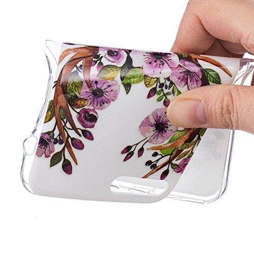 Custodia per iPhone 7 Plus 5.5,Cover per iPhone 7 Plus 5.5 Silicone,BtDuck Ultra Slim Creativo Nottilucenti Luminoso Flessibile TPU Morbido Silicone Protettiva Cassa Trasparente Fiore Design Crystal C #6