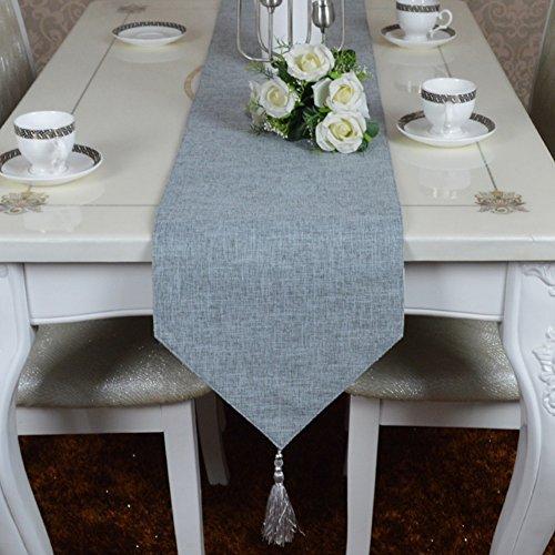 ERRU-Drapeau de table Chemin de Table en Coton et Lin Chemin de Table Simple Couleur Uni Classique Serviette de Table en Nappe de Table Vintage Nappe Nappes (Couleur : Gris, taille : 30 * 160cm)