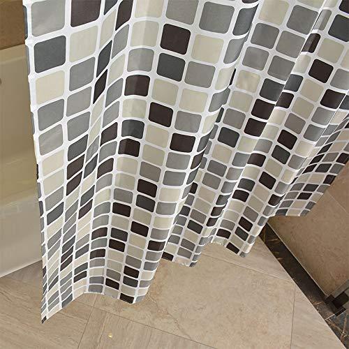 oppinty Bad Duschvorhang Set verdickt wasserdicht Vorhang Trennwand Vorhänge Mehltau Polyestertuch Bad Duschvorhang Schwarz-Weiß-Gitter
