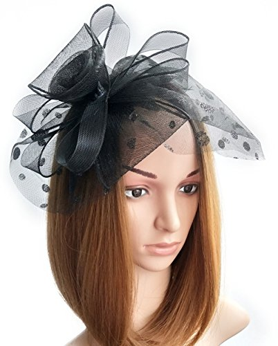 Womens Fascinator Hut Haarclip Rose Blumen Perlen für Cocktail Headwear Party (Niedlichen Halloween Diy Kostüme)