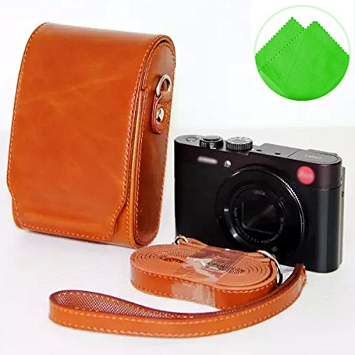 First2savvv XJPT-LeicaC-09 brown full body Precise Fit PU leather digital camera case bag cover with shoulder strap for Leica C V-LUX40 V-LUX30 V-LUX20 Panasonic DMC- LF1 Fujifilm XQ1 + Cleaning cloth