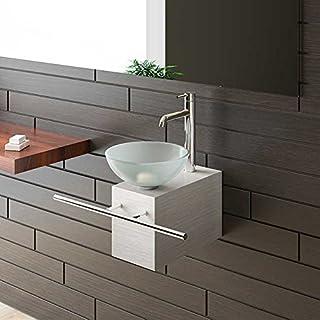 Alpenberger® Aufsatzwaschbecken Satinierte Glaswaschschale Ø 31 mit Edelstahlkasten und Handtuchhalter