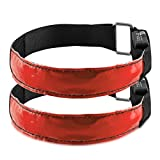 kwmobile 2X LED Leucht Armband - XL Sicherheitsband für Outdoor Sport Joggen Hundehalsband helles Blinklicht reflektierend bei Dunkelheit - rot