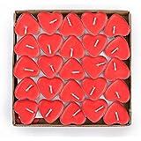 Ailiebhaus 50er Teelichter Set Romantische Hochzeit Herz Kerzen (Rot)