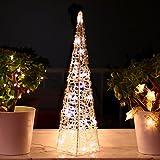 Weihnachtspyramide 60cm LED Pyramide Warmweiß Leuchtpyramide Weihnachten Lichtkegel groß (60cm)