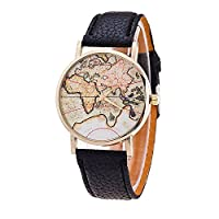 Apacy Unisex Men Women Fashion Analog Display Digital Quartz Birthday Gift Faux Leather Straps World Map Pattern Wrist Watch