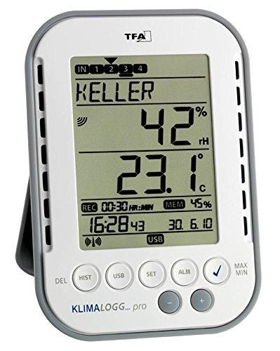 TFA Dostmann Klimalogg Pro mit 8 Temperatur Luftfeuchte Sender Speicherfunktion und PC Anschluss (weiß 30.3039)