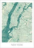 Posterlounge Stampa su PVC 120 x 160 cm: Map of New York, Blue di Hubert Roguski
